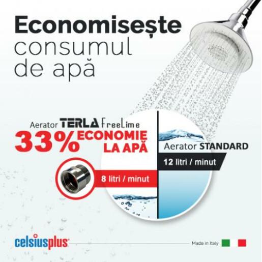 Aerator pentru dus Terla 8 litri consum apa / 1 minut   filet exterior