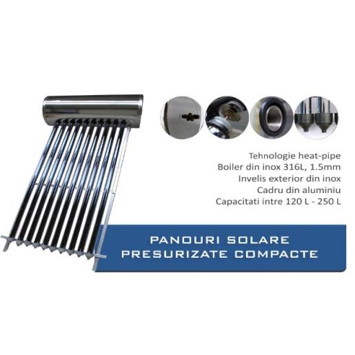 Panou solar presurizat pentru apa calda  Panosol  PS250 cu boiler inox 250L si suport pentru acoperis
